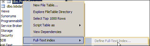 create a full text index in SQL Server