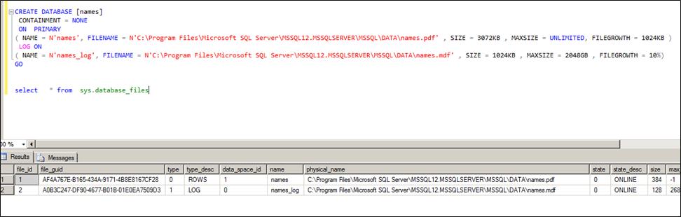 Database File Extensions SQL Server
